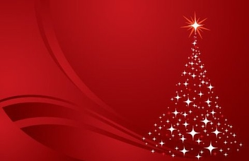Glittery Christmas Tree Red Background - Free vector #334329