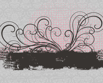 Retro Splashed Swirling Floral Banner - vector gratuit #334669