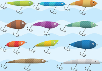 Colorful Fish Hook Vectors - Free vector #334879