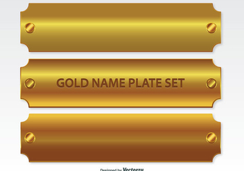 Golden Name Plates Set - vector #335339 gratis
