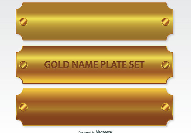 Golden Name Plates Set - vector gratuit #335339
