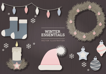 Pastel Winter Essentials Vector Illustration - Free vector #335449