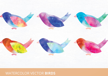 Watercolor Birds Vector Illustration - бесплатный vector #335489