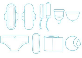 Feminine Hygiene Line Art Icon Set - Free vector #335509