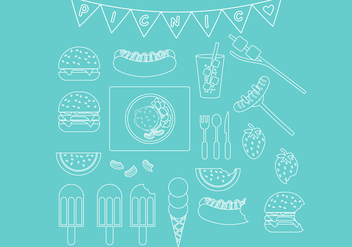 Picnic Line Icon Set - vector gratuit #335519