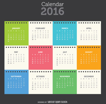 Colorful 2016 notepad sheet calendar tempalte - Free vector #335679
