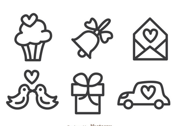 Wedding Outline Icons - Free vector #335979