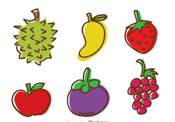 Fruits Hand Draw Icons - Free vector #336119
