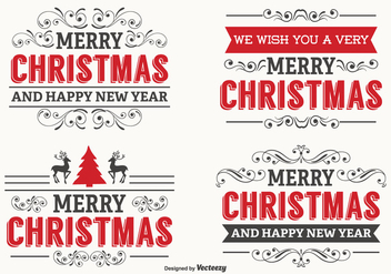 Beautiful Christmas Label Set - vector gratuit #336169