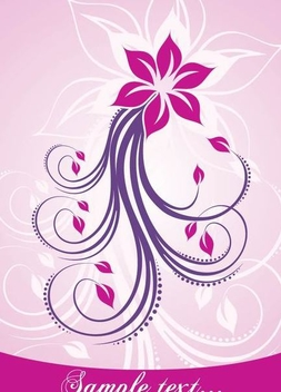 Pink Swirling Floral Card - vector gratuit #336289