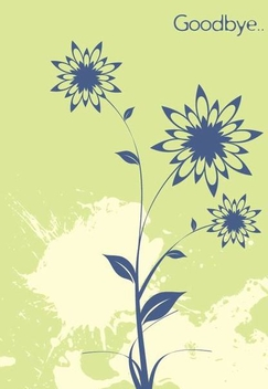 Grungy Goodbye Floral Card - Free vector #336319