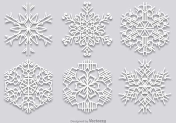 White snowflakes set - vector gratuit #336499