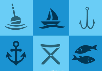 Fishing Element Icons - vector gratuit #336529