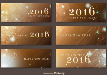 Happy New Year 2016 Golden Banners - Kostenloses vector #336589