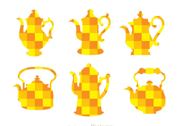 Arabic Coffee Pot Orange Mozaic Icons - Free vector #336759