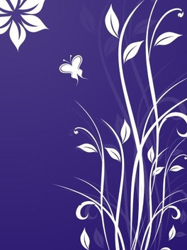 White Swirling Plant Blue Background - vector gratuit #336899