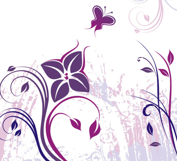 Swirly Plants Butterfly Grungy Stains - Free vector #336919