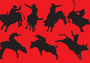 Bull Rider Silhouettes - Free vector #336949