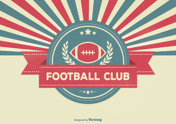 Retro Sunburst Style Football Club Illustration - Free vector #337099