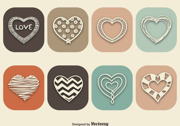 Vintage style heart icons - Free vector #337139