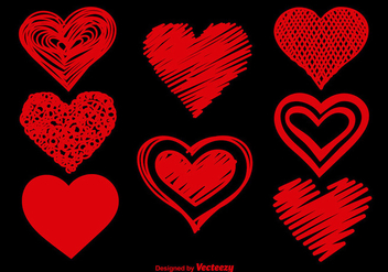 Doodle hearts set - Free vector #337179