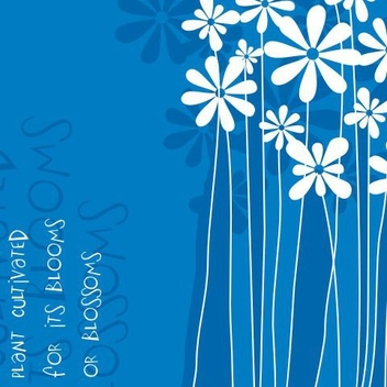 Funky Flower Plants Blue Background - vector gratuit #337199