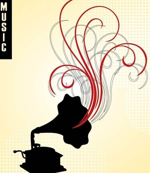 Gramophone Swirls Musical Background - vector gratuit #337349