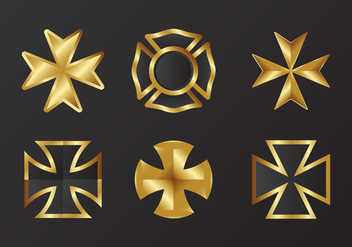 Gold Maltese cross Vector - vector gratuit #337639