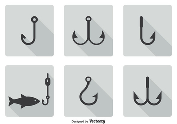 Fish Hook Icon Set - vector gratuit #337679