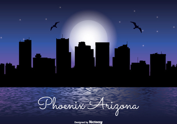Phoenix Arizona Night Skyline - Free vector #337979