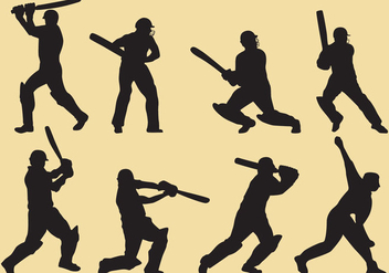 Cricket Player Silhouettes - Free vector #338059
