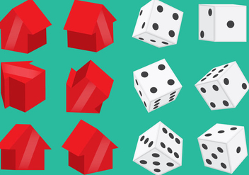 Monopoly Pieces And Dice Vectors - vector gratuit #338069