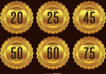 Gold Anniversary Badge Set - vector #338089 gratis