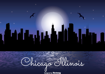 Chicago Illinois Night Skyline Illustration - Kostenloses vector #338359