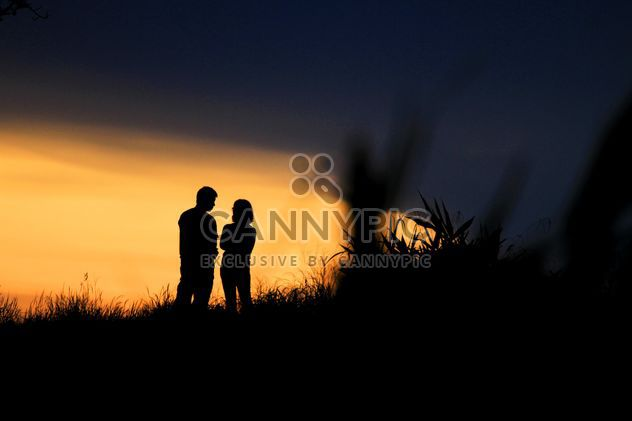 Silhouette of couple at sunset - Free image #338549