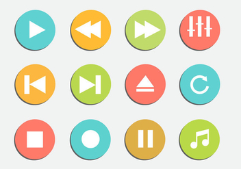 Free Media Player Iicons Vector - vector gratuit #338649
