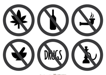 No Drugs Gray Icons - Free vector #338679