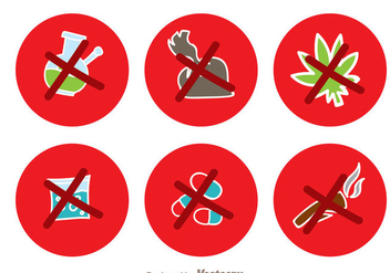 No Drugs Red Circle Icons - Free vector #338699