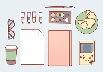 Vector Pastel Accessories - vector gratuit #338749