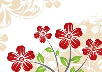 Red Flower Plant Vintage Background - vector gratuit #338849