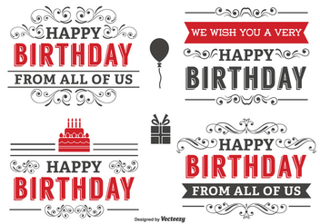 Typographic Birthday Label Set - Kostenloses vector #339419