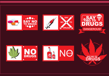 No Drug Vector Badges - vector gratuit #339459