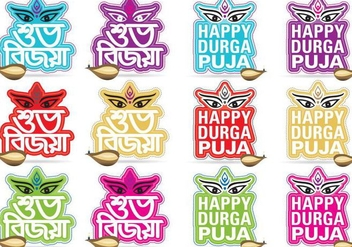 Happy Durga Puja Titles - бесплатный vector #339509