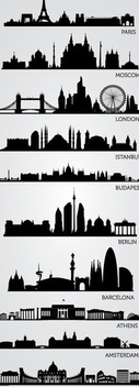 European Skyline Silhouettes - Free vector #341099