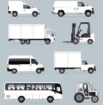 White Industrial Vehicles - vector gratuit #341169