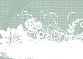 Grungy Floral Halftones Background - vector gratuit #341219