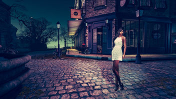 The girl, bikes and lamppost - image gratuit #341269