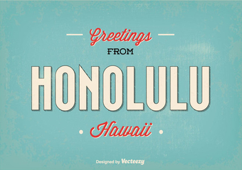 Retro Style Honolulu Greeting Illustration - Free vector #341619