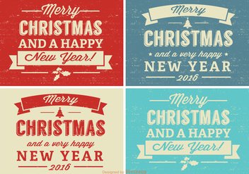 Retro Distressed Christmas Label Set - бесплатный vector #341629