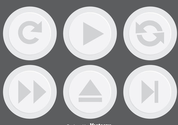 Light Gray Media Button - vector gratuit #341719